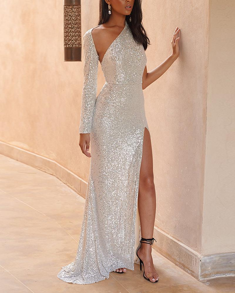 One Shoulder Sequined Slit Dress фото