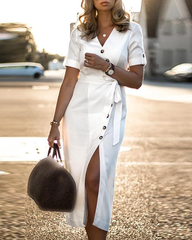 Short Sleeve Oblique Placket Slit Dress фото