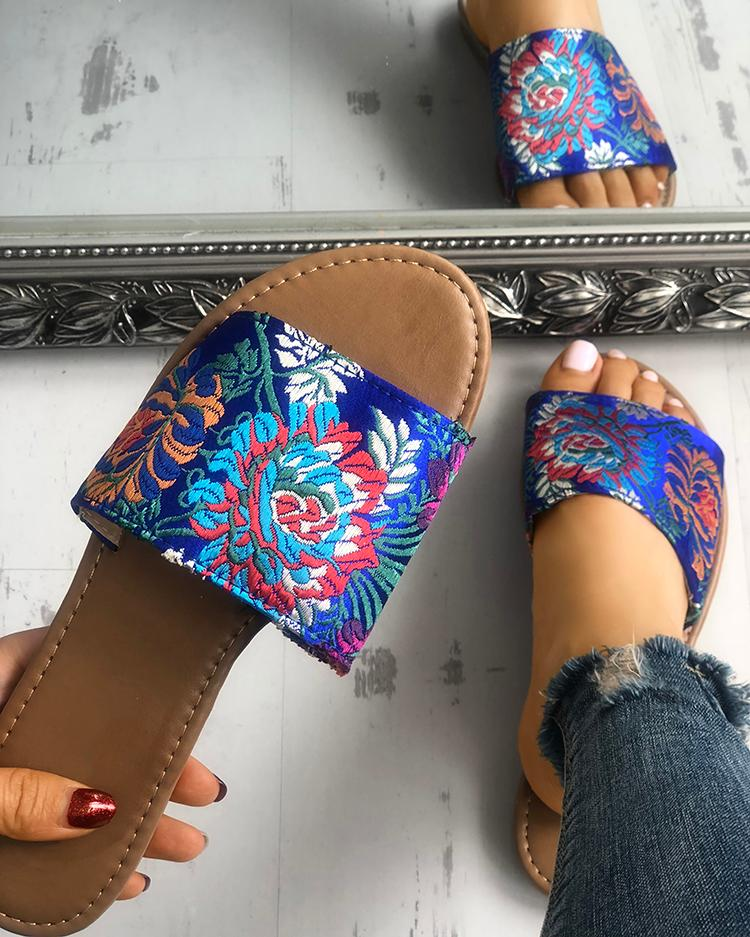 Floral Embroidery Single Strap Open Toe Slipper, Blue