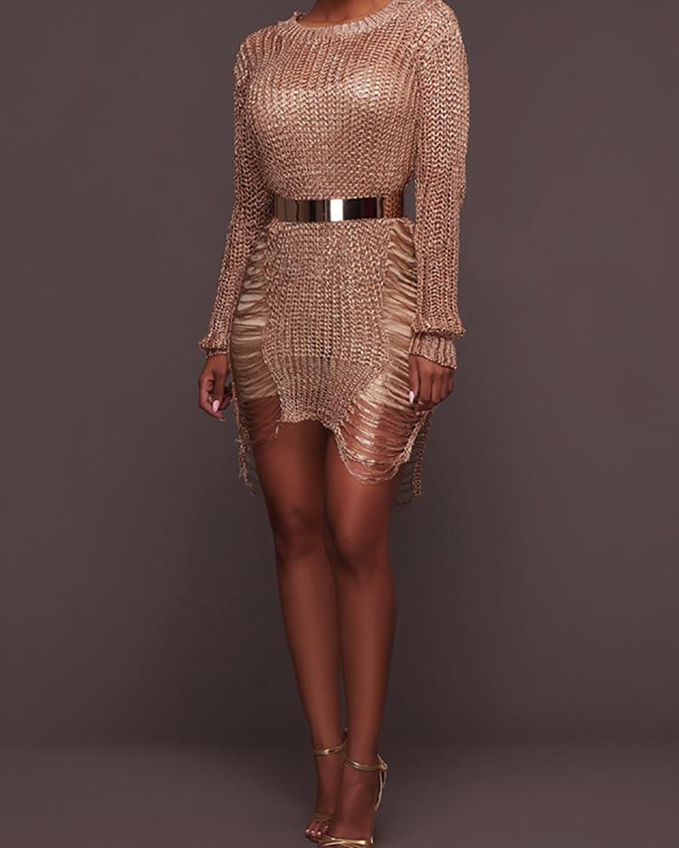 Stylish Ripped Asymmetrical Hem Knitted Dress фото