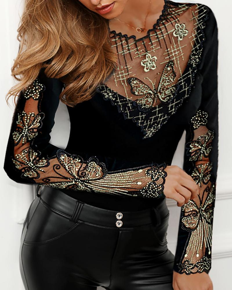 Sheer Mesh Butterfly Studded Design Blouse фото