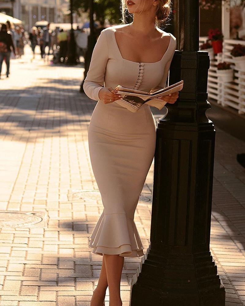 boutiquefeel / Square Neck Fishtail Midi Dress