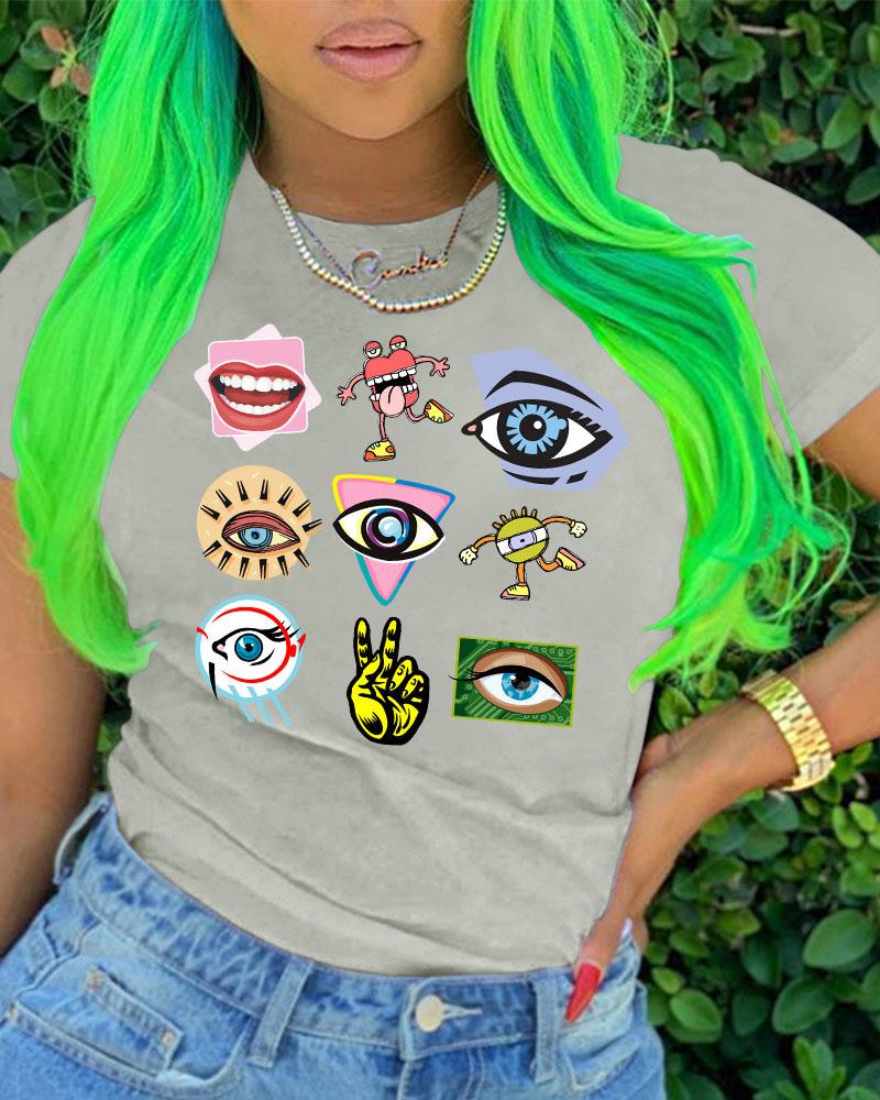 Eyes / Cartoon / Hand Print Short Sleeve Casual T-shirt фото