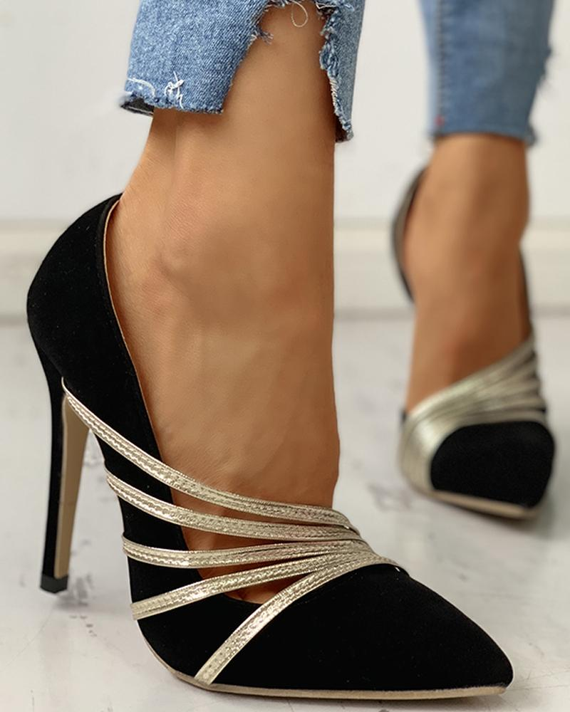 Glitter straps Pointed Toe Thin Heels, Black