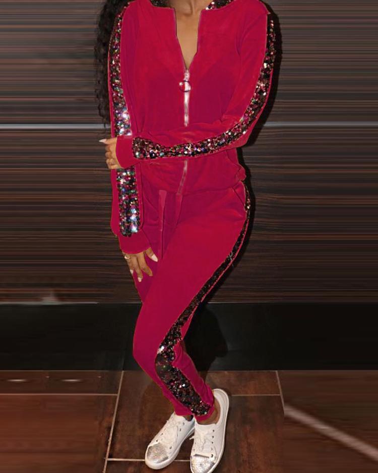 joyshoetique / Velvet Contrast Sequin Hooded Jacket & Pants Sets