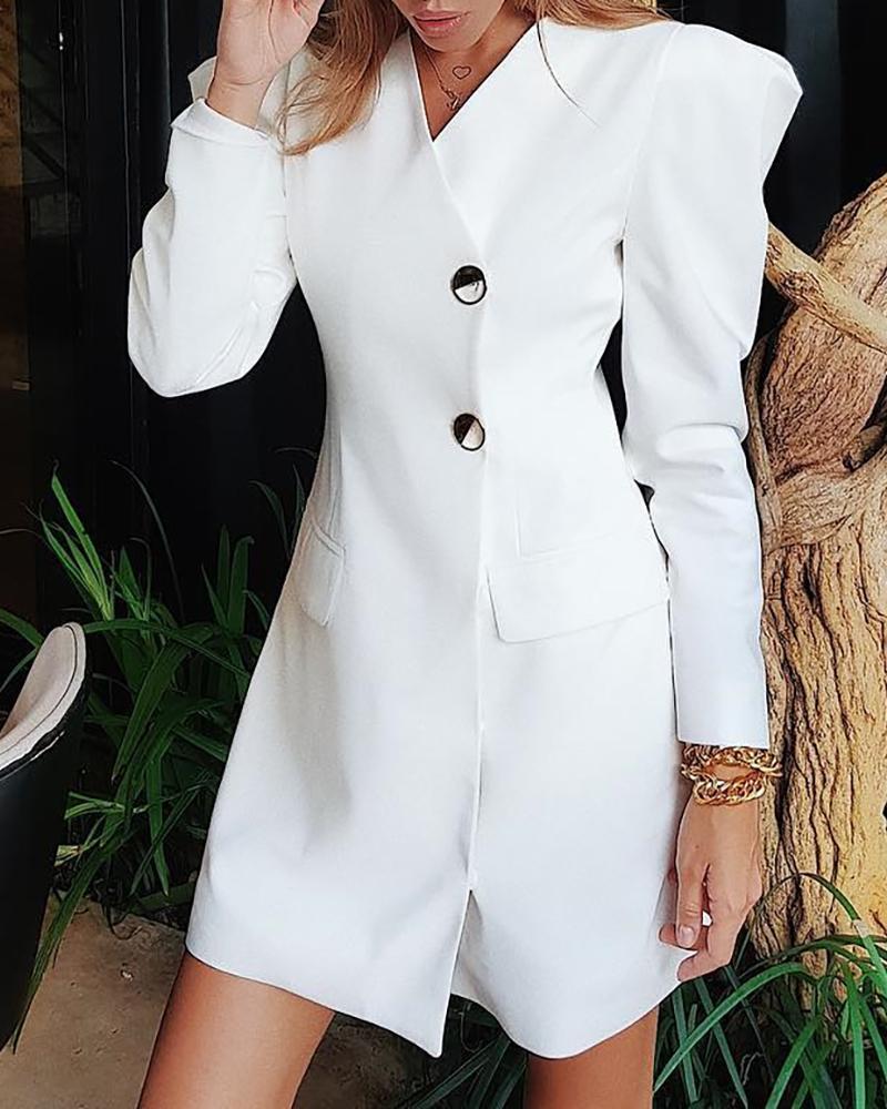 Puffed Sleeve Buttoned Blazer Dress, White