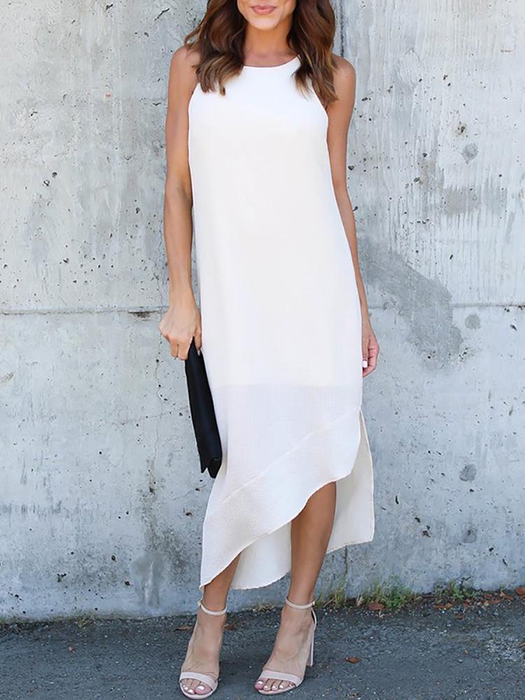 Asymmetric Cut Out Sleeveless Maxi Dress - White
