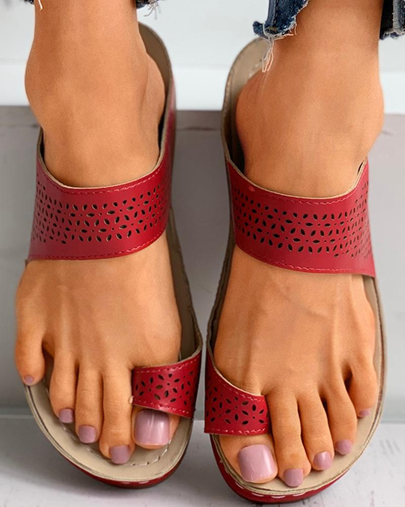 Toe Ring Hollow Out Casual Flat Sandals фото