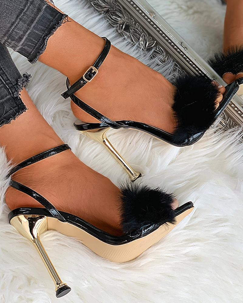 joyshoetique / Fluffy Pointed Toe Heeled Sandals