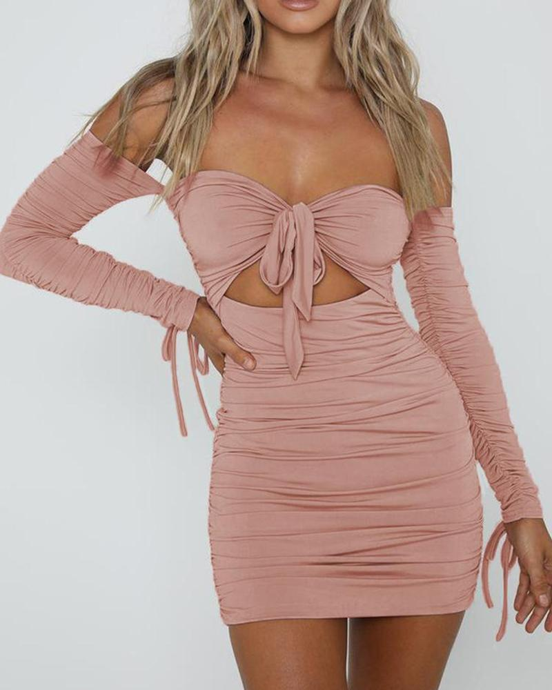 Off Shoulder Ruched Tie Front Dress фото