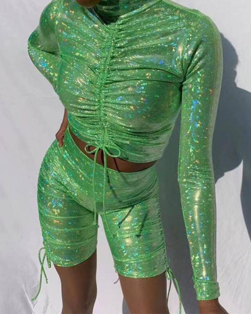 boutiquefeel / Top corto y pantalones cortos con lentejuelas sexy