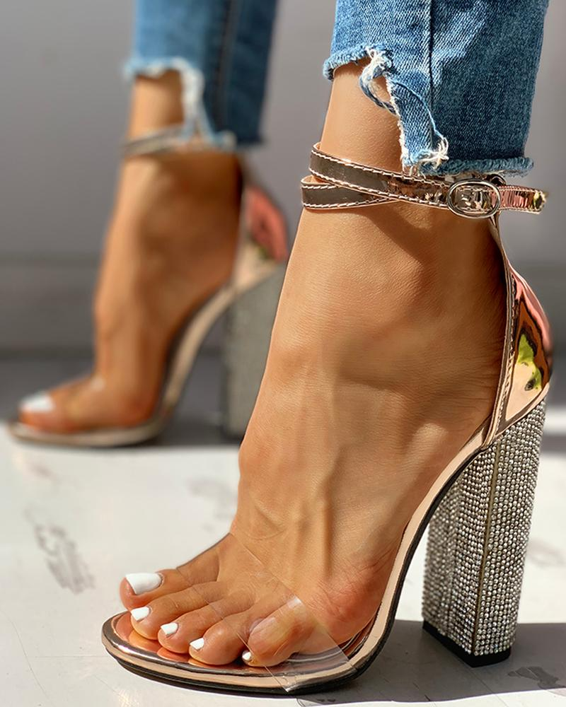 Diamante Trim Ankle Strap Chunky Heeled Sandals, Gold