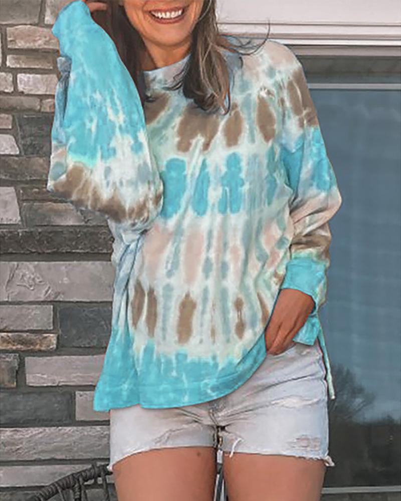 Tie Dye Print Colorblock Casual Sweatshirt фото