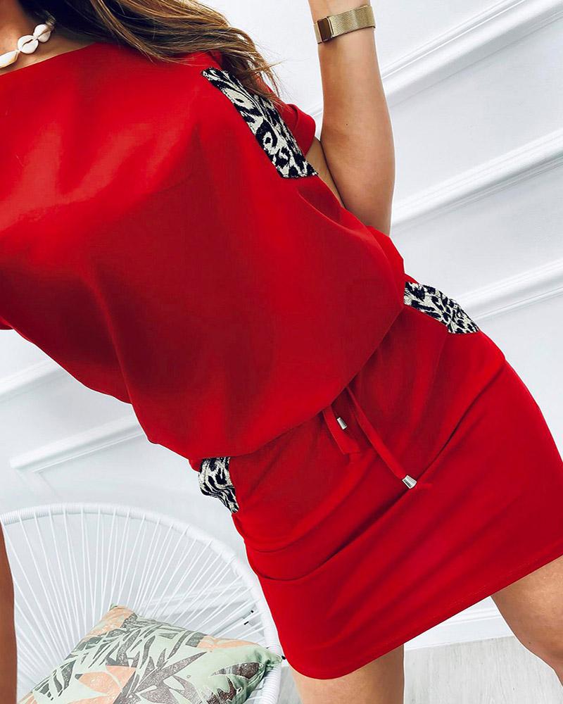 boutiquefeel / Leopard Print Pocket Design Top & Drawstring Skirt Set