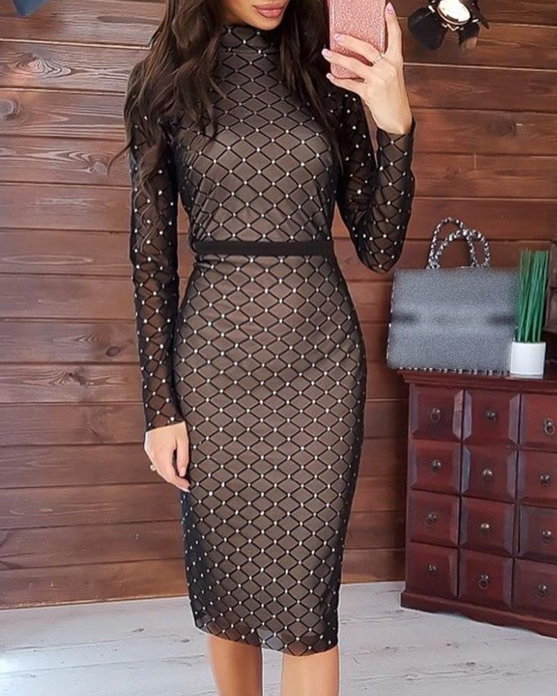 ivrose / Hot Stamping Mock Neck xadrez manga comprida Bodycon Dress