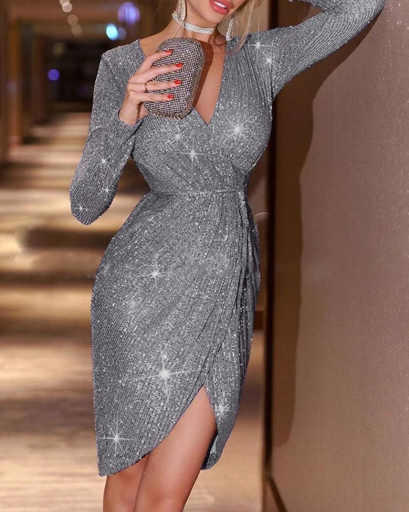 Glitter Long Sleeve Irregular Sequins Dress фото