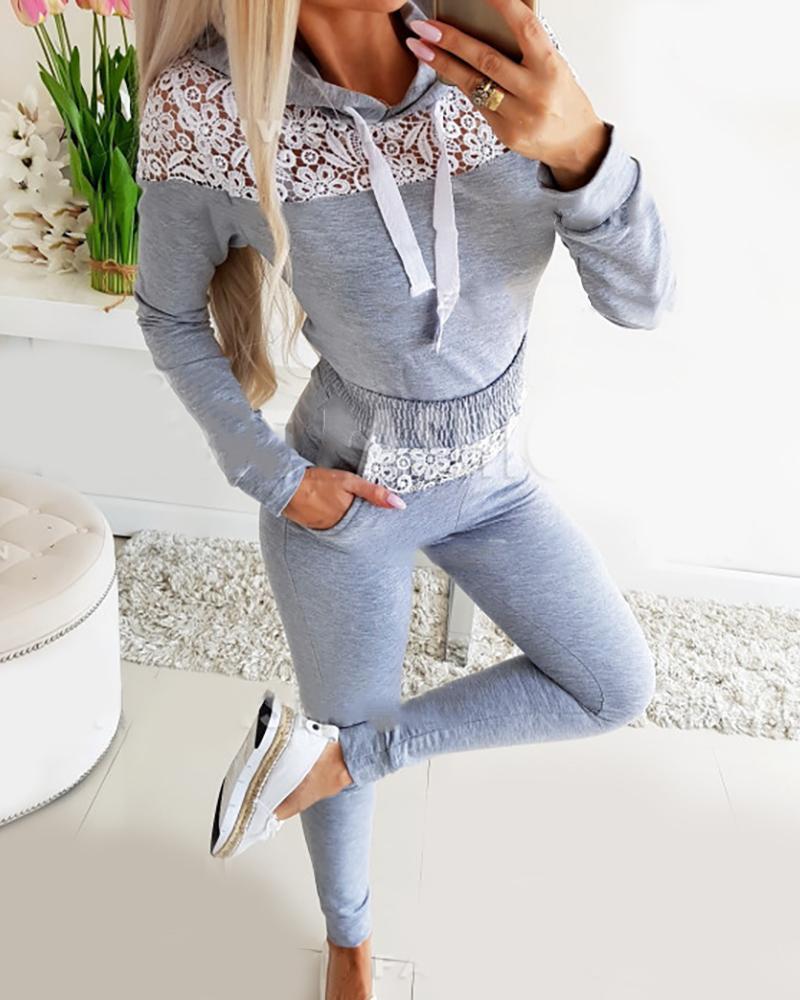 boutiquefeel / Conjunto de top e calça com capuz de renda em renda de crochê