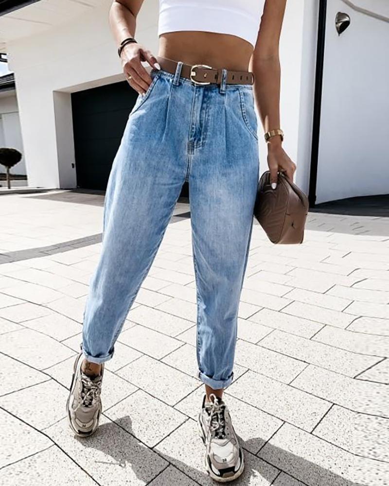 chicme / Bolsos de cintura alta Design Jeans casual