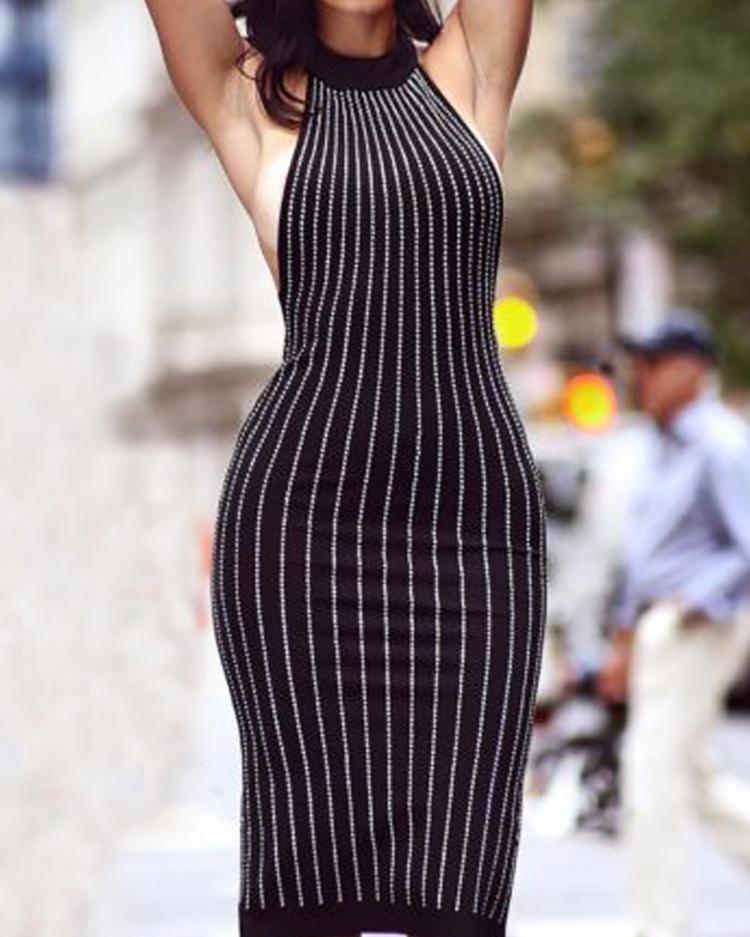 Sexy Glittering Sequins Halter Slit Back Midi Dress фото