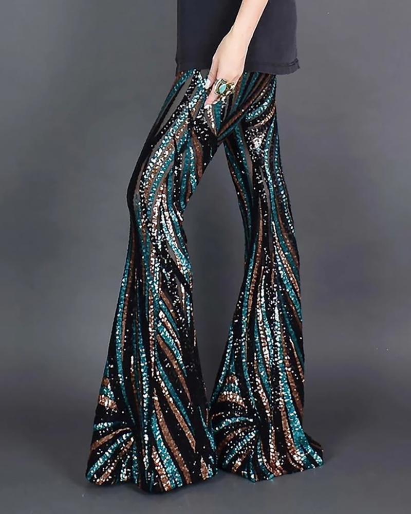ivrose / Calças de lantejoulas Colorblock de cintura alta com brilho e cintura alta