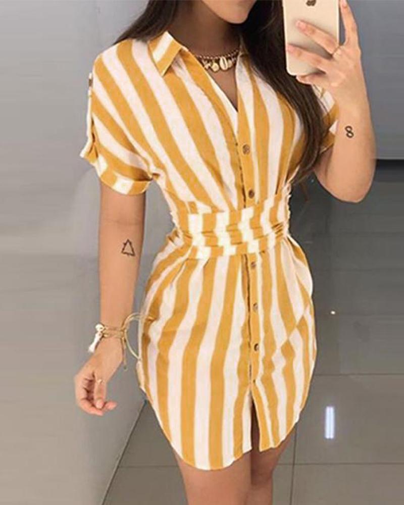 boutiquefeel / Vestido camisero estampado a rayas para mujer