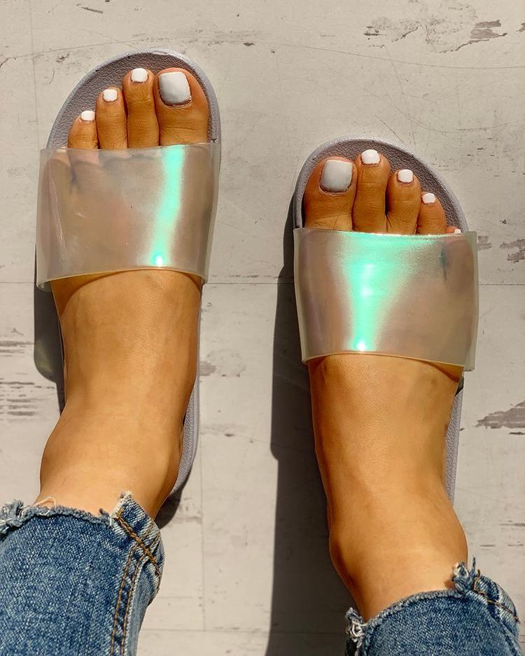 Transparent Open Toe Flat Sandals