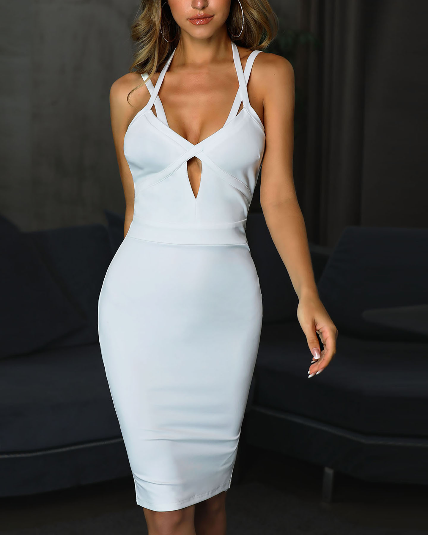 Halter Spaghetti Strap Cutout Bodycon Dress