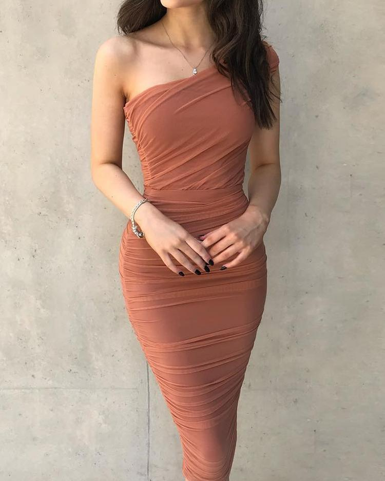 One Shoulder Ruched Design Bodycon Dress фото