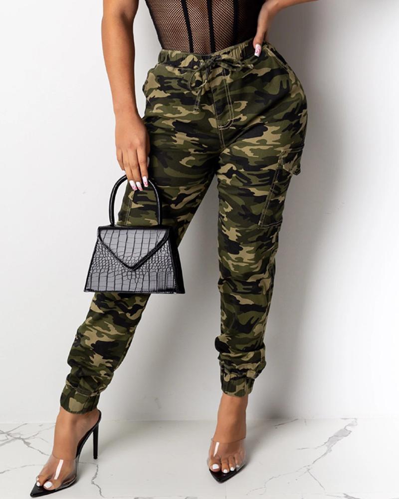 ivrose / Pantalones cargo de diseño con cordón de camuflaje