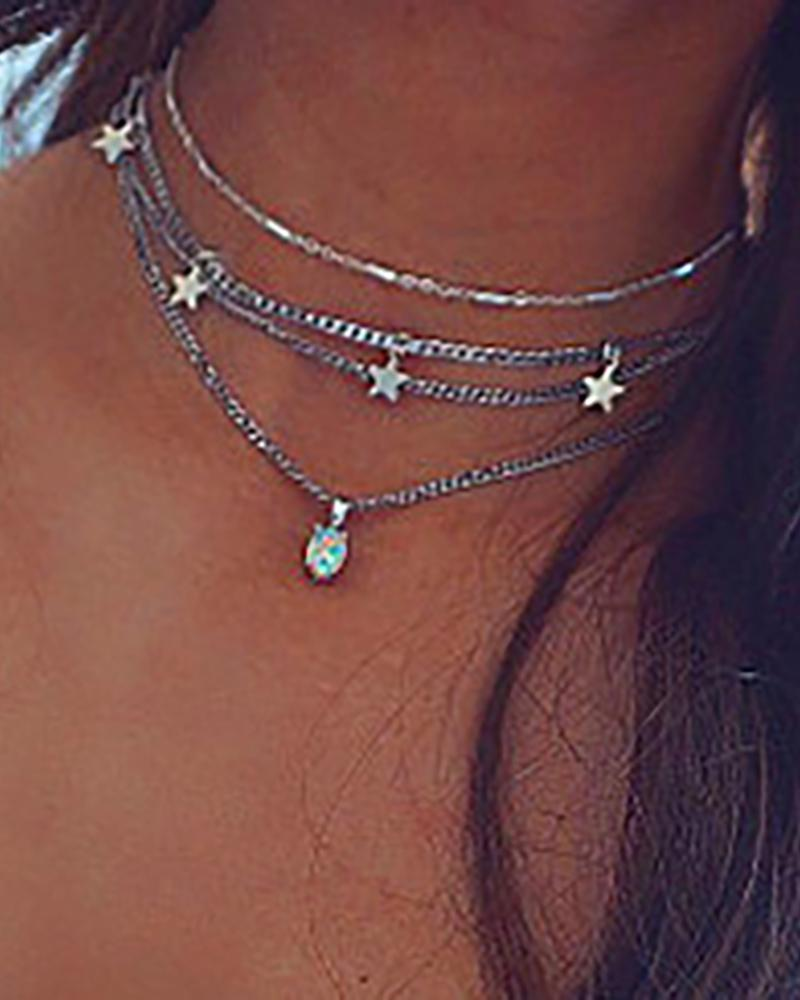 Fashion Tiered Stars Pendant Necklace фото
