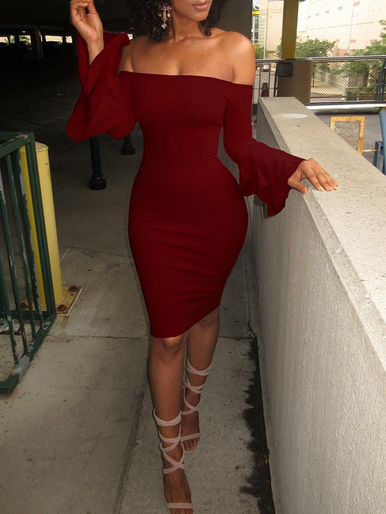 Sexy Off Shoulder Layered Sleeve Bodycon Dress фото