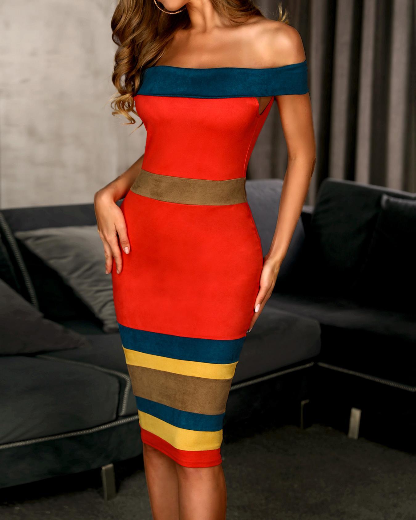 Off Shoulder Colorblock Insert Bodycon Dress, Multicolor
