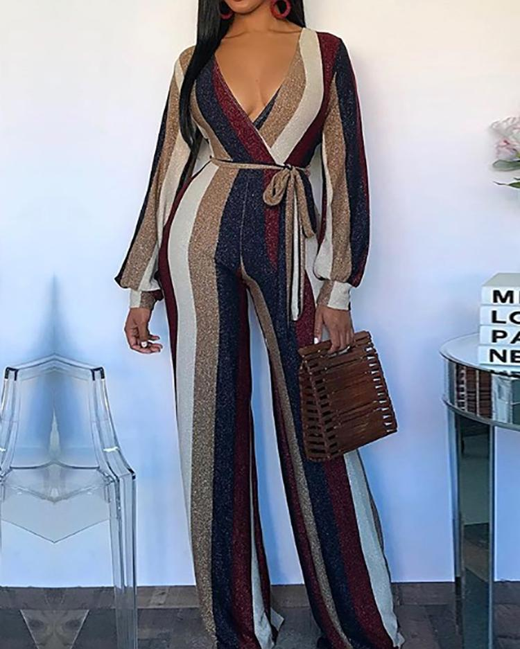 chicme / Colorful Striped V-Neck Belted Jumpsuits