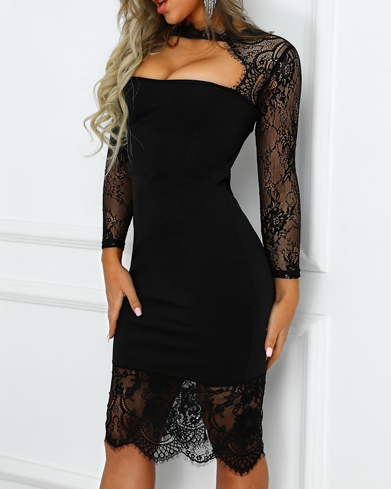 Eyelash Lace Cut Out Bodycon Dress