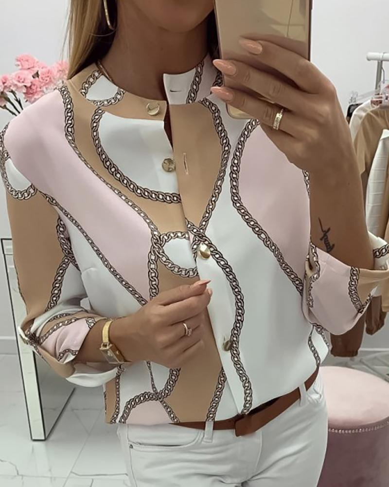 Scarf Print Roll-up Sleeve Buttoned Top фото