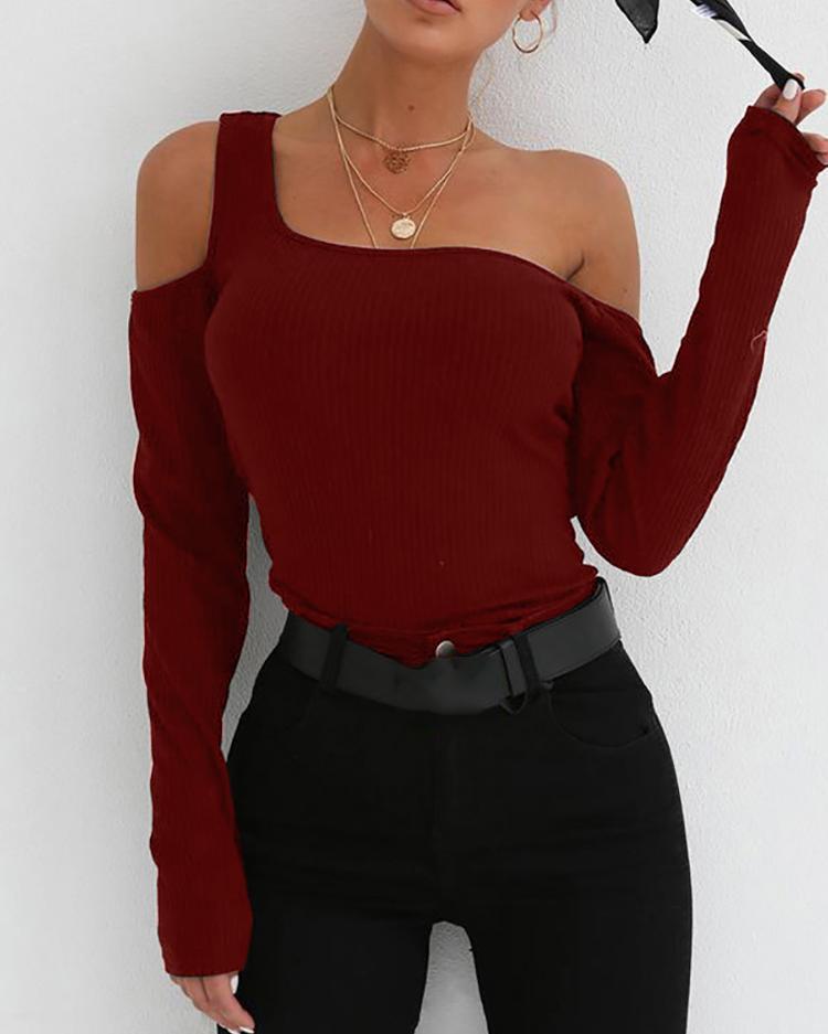 Long Sleeve One Shoulder Top