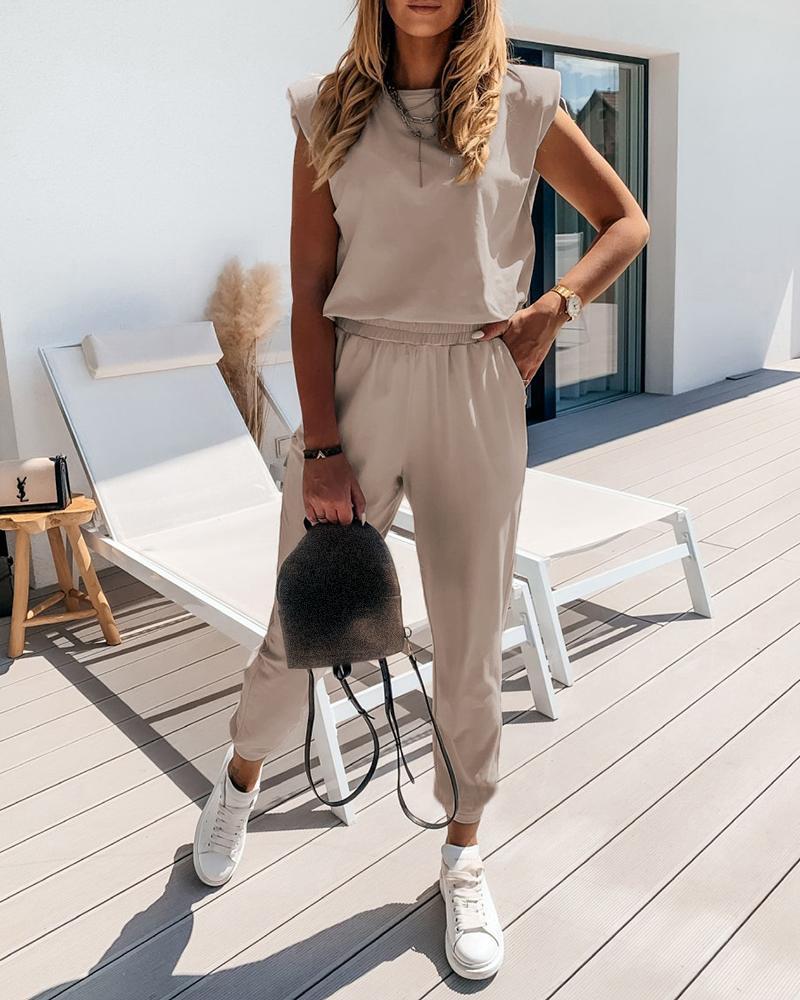 Sleeveless Top & Pocket Design Pants Set фото