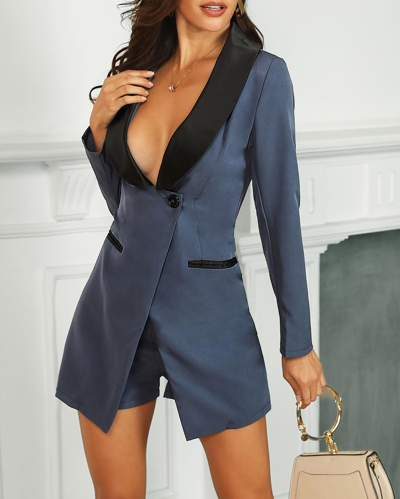 Long Sleeve Two Tone Button Blazer Romper