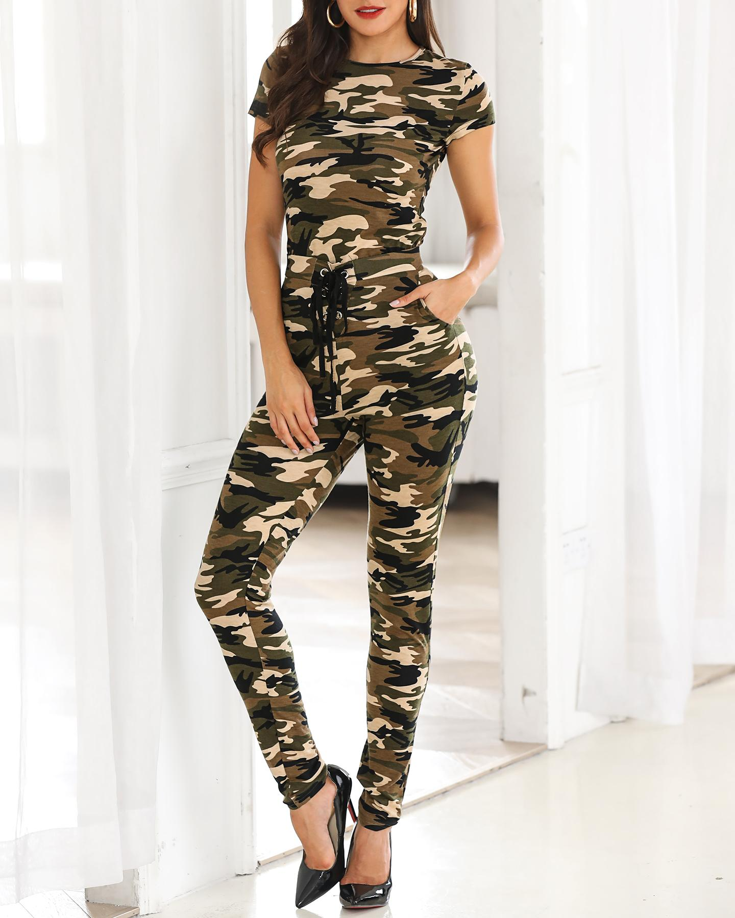 Camouflage Short Sleeve Top & Pant Sets фото