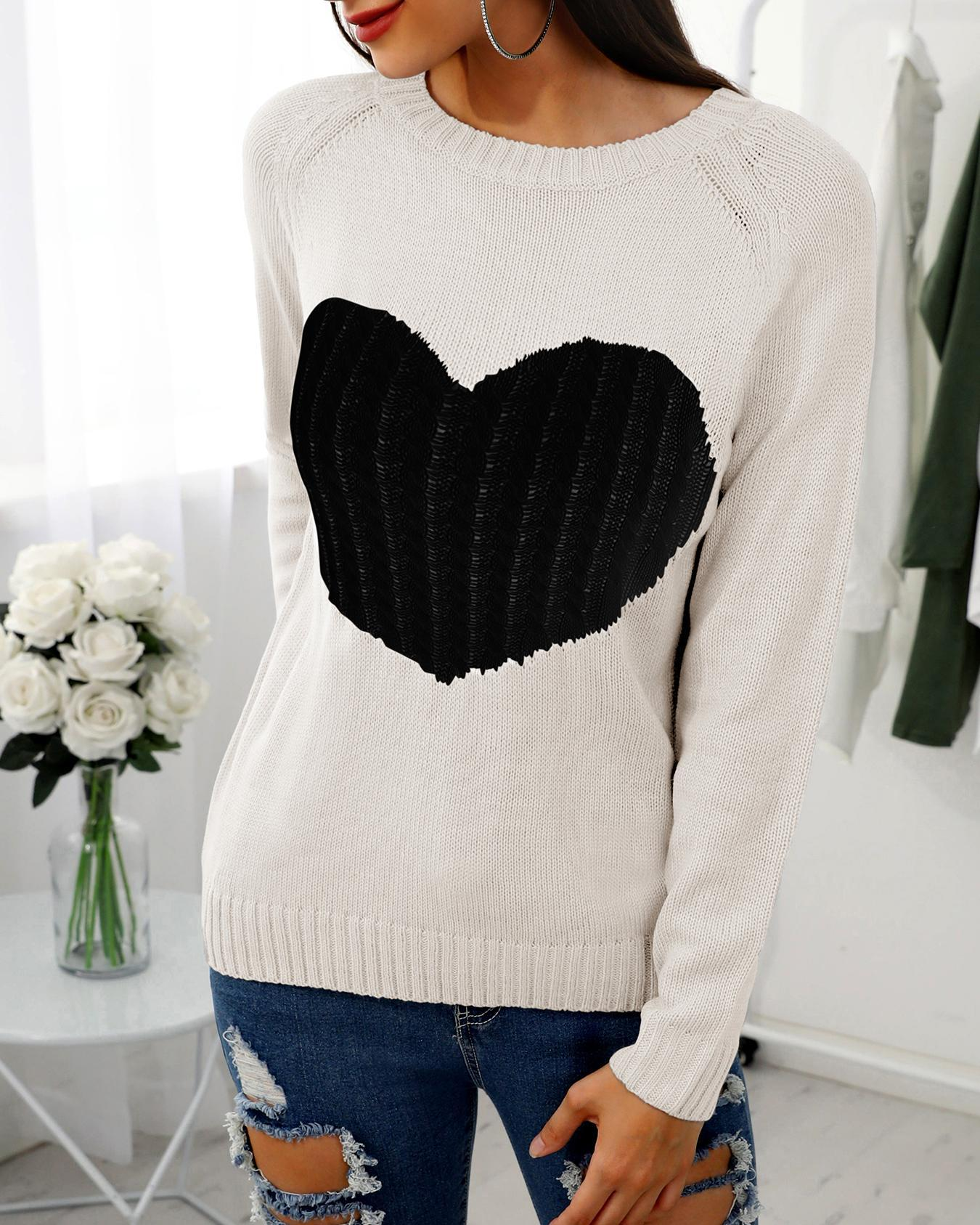Heart Pattern Long Sleeve Casual Sweater