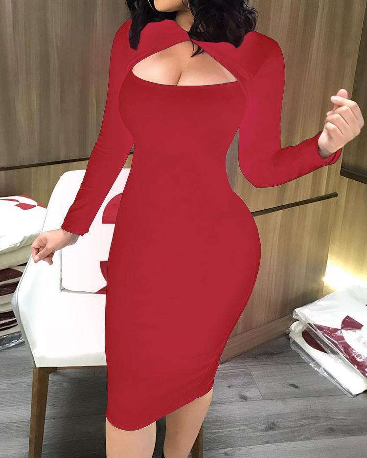 Cut Out Front Long Sleeve Bodycon Midi Dress фото