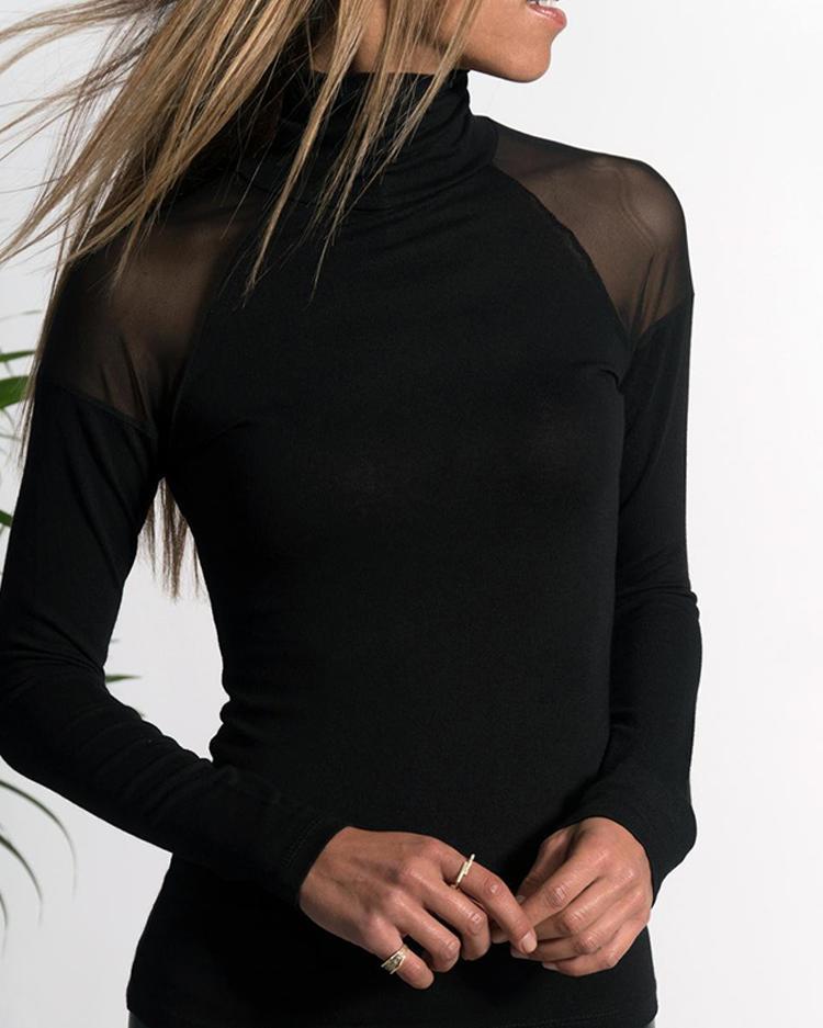 Mesh Stitching Black Bottoming Top