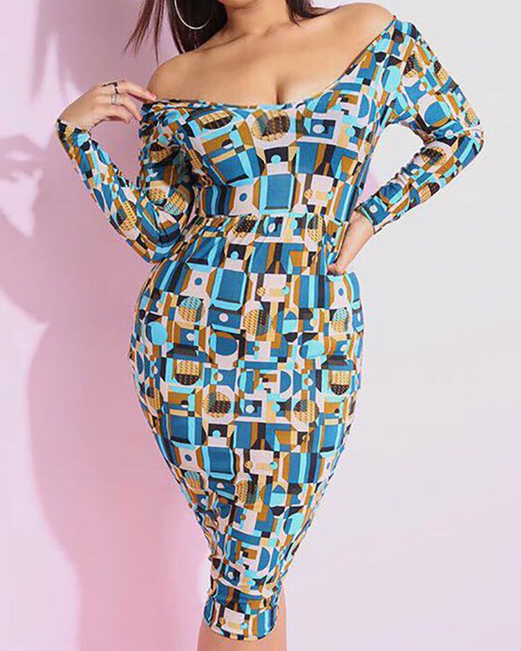 Mixed Print Long Sleeve Midi Dress фото