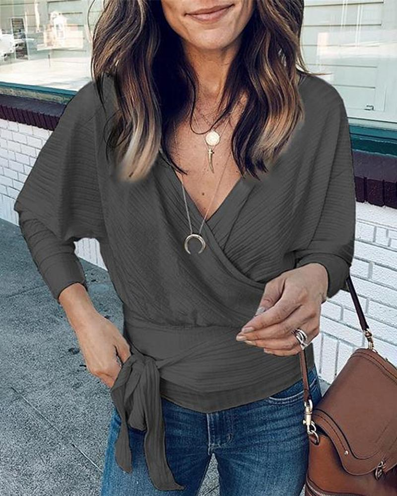 Deep V Long Sleeve Wrap Tie Side Top, Gray
