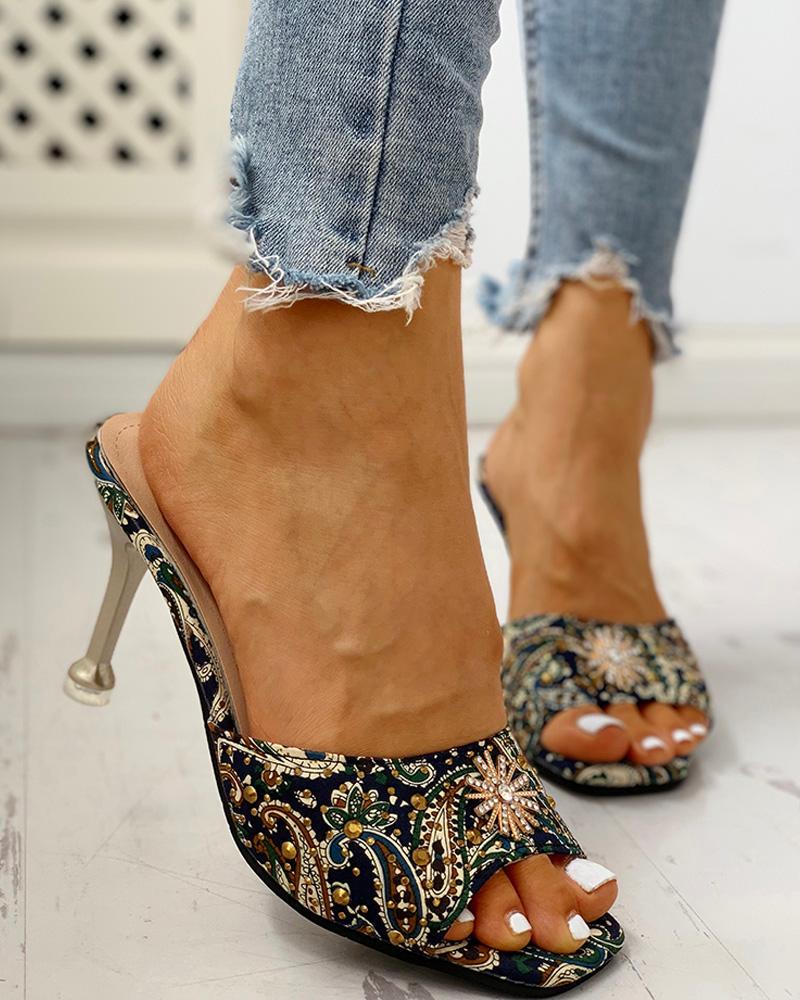 ivrose / Ethnic Print Studded Detail Thin Heels