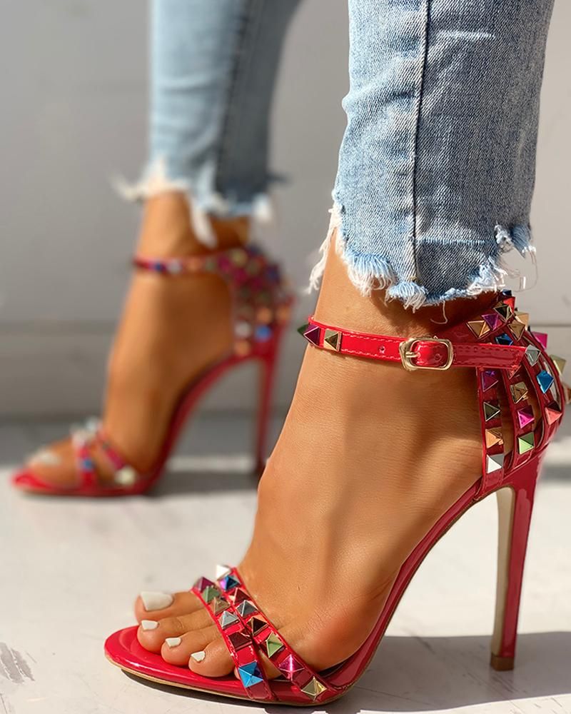 Glitter Studded Ankle Buckled Thin Heeled Sandals, Red
