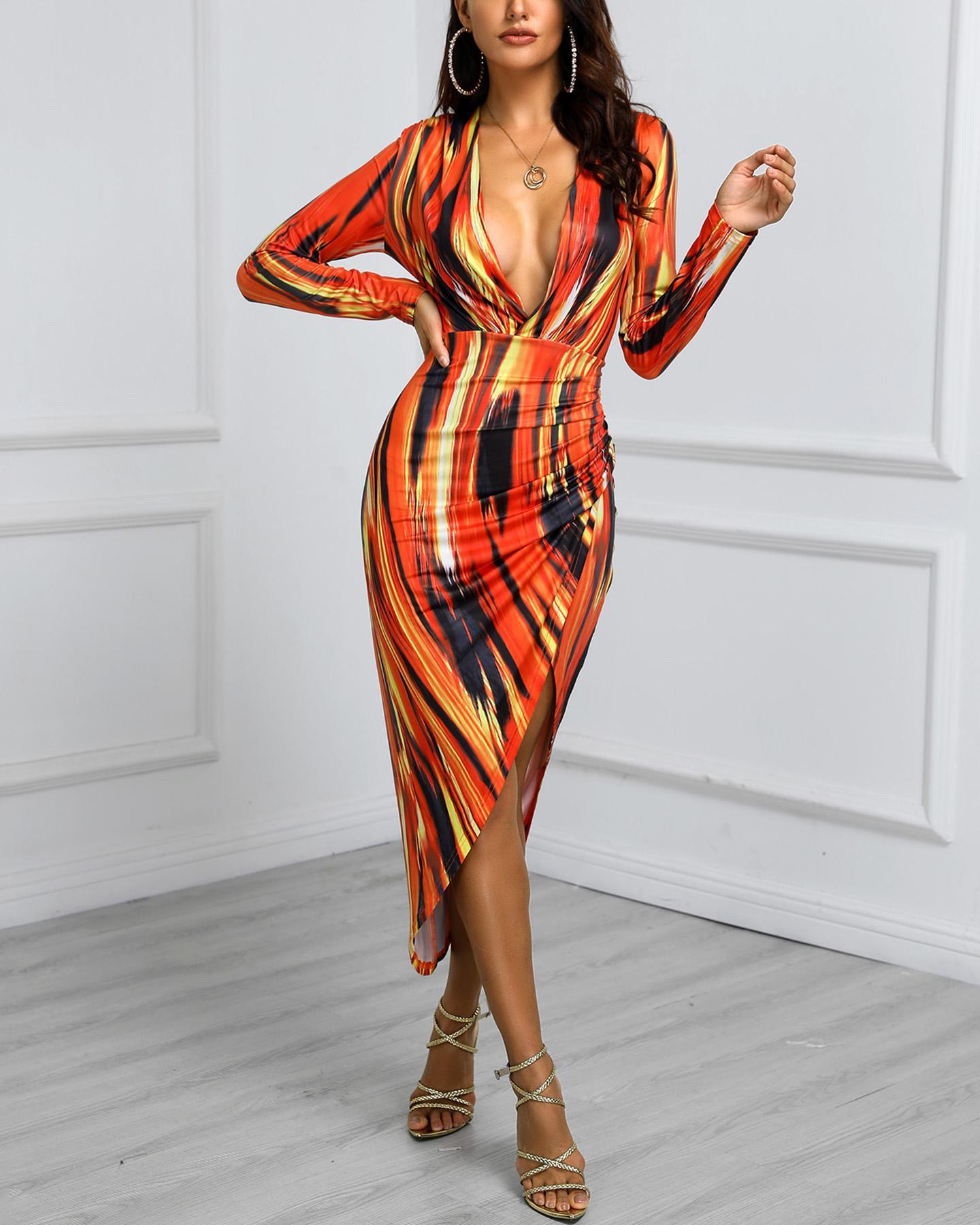 Tie Dye Print Slit Irregular Bodycon Dress, Multicolor