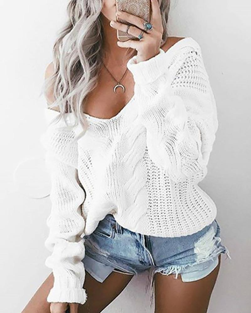 Solid Long Sleeve Knitted Casual Sweater фото