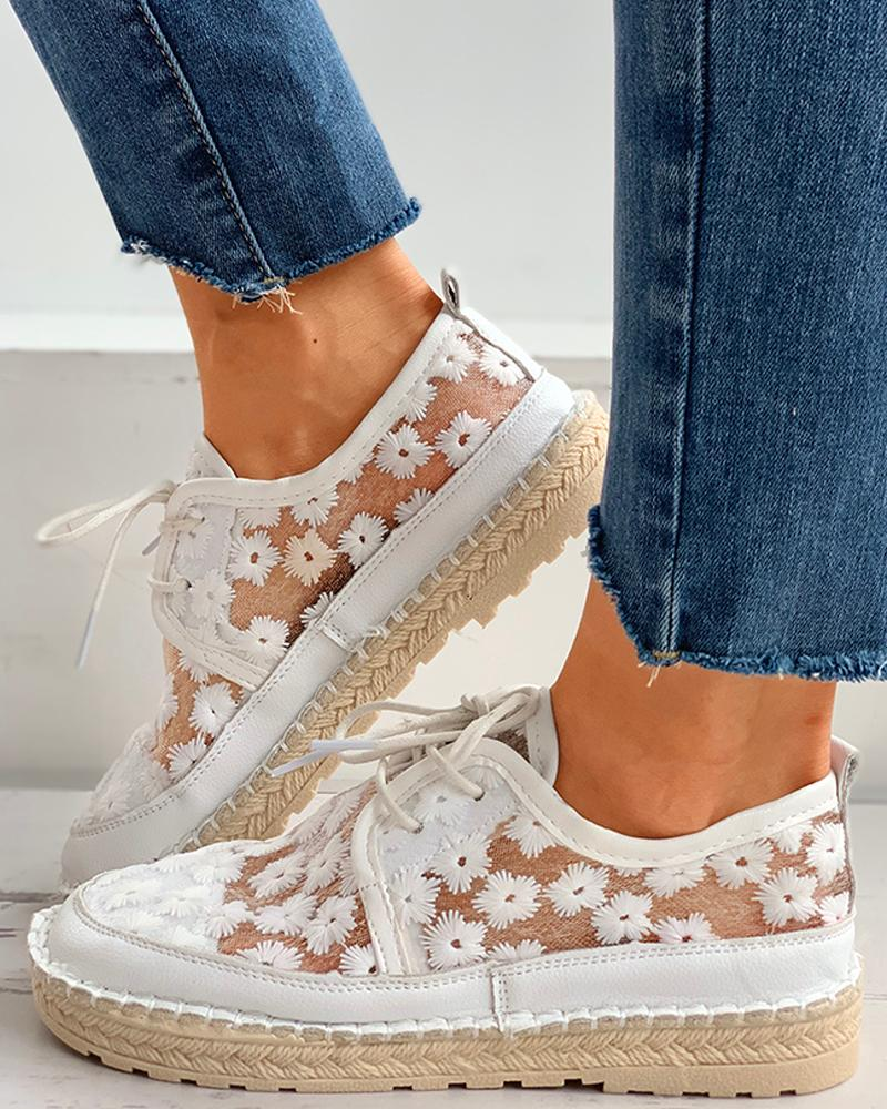 Floral Pattern Woven Flax Lace-up Sneakers фото