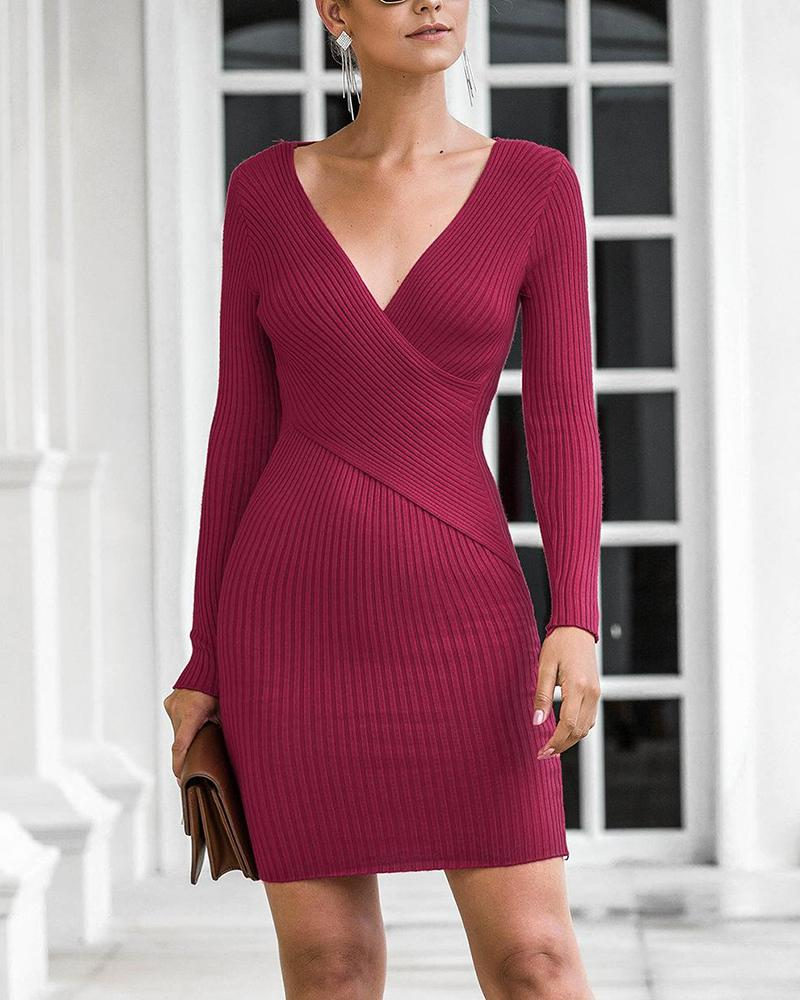 boutiquefeel / V Neck Bodycon Rib Knit Dress